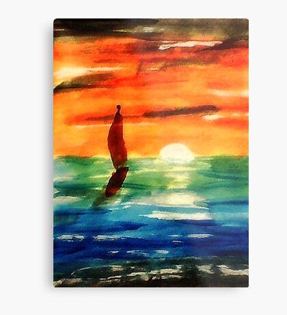 Dusk at Sea, revised, watercolor Metal Print