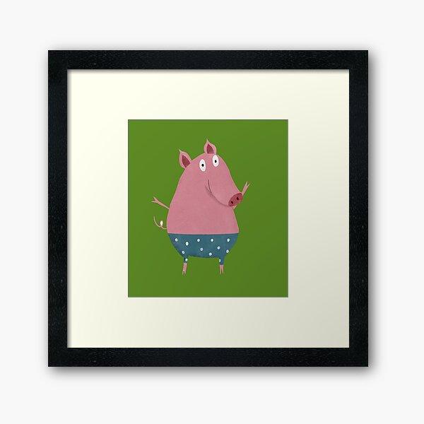 Kleines Schweinchen mit Unterhose Gerahmter Kunstdruck