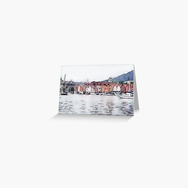Bergen in Watercolor Greeting Card