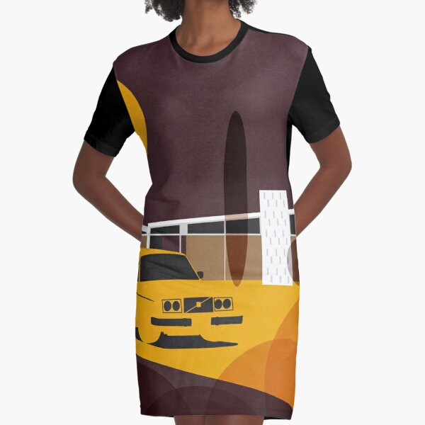 Mid-century modern home and retro car Graphic T-Shirt Dress