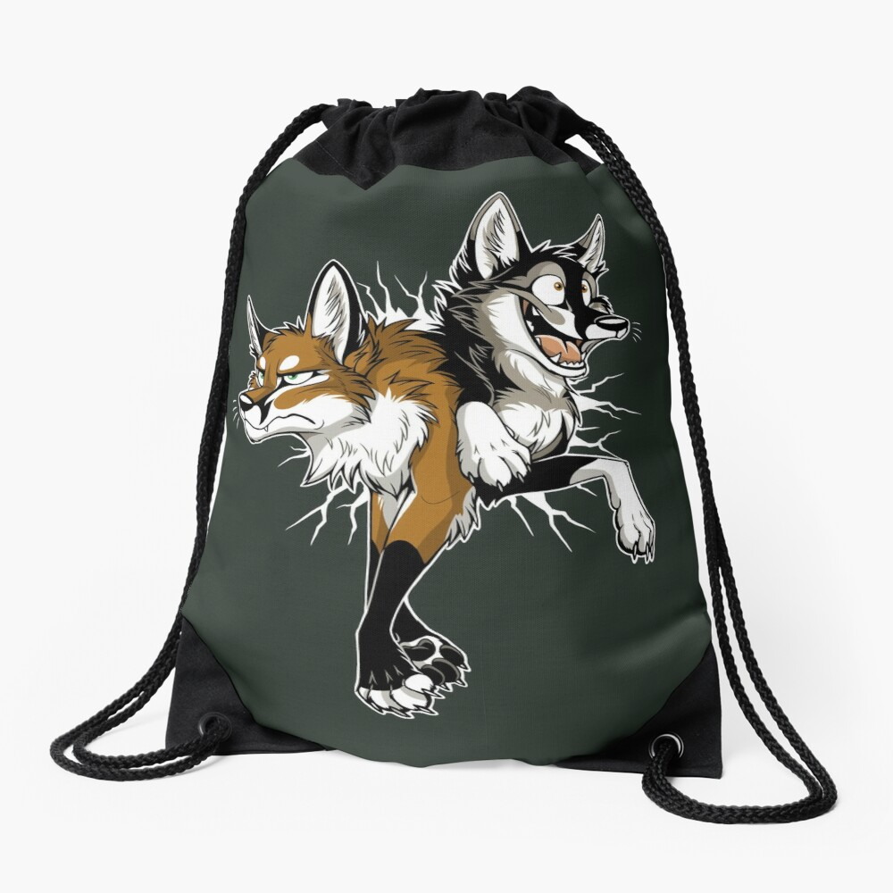 STUCK Foxes (white cracks) Drawstring Bag