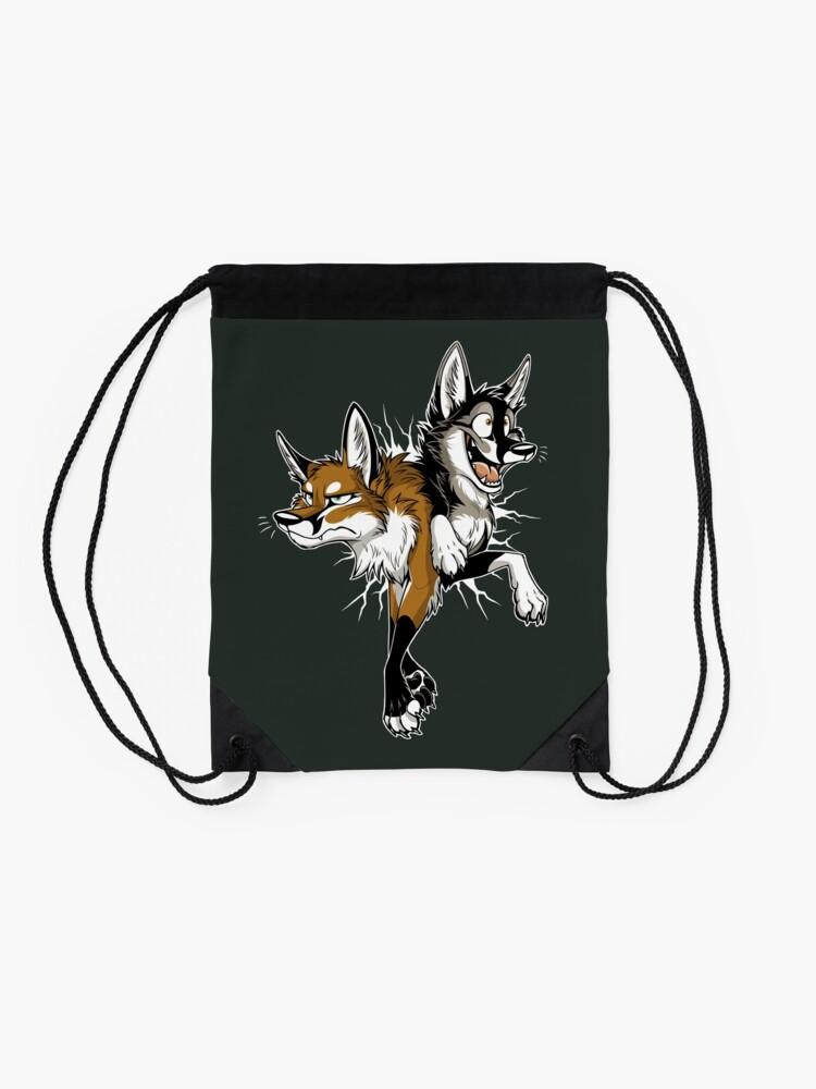 Alternate view of STUCK Foxes (white cracks) Drawstring Bag