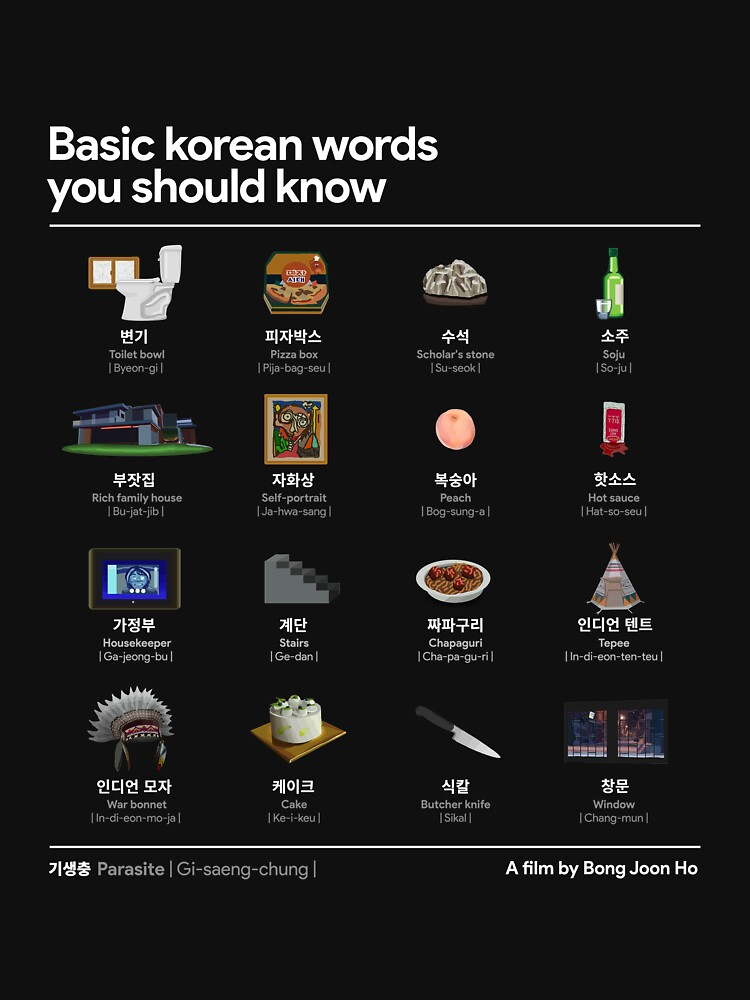 Parasite - Basic korean words you should know  by ahnkleid