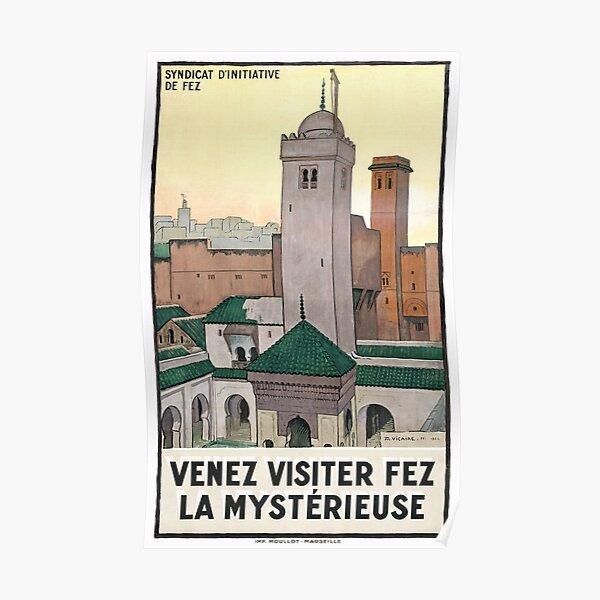Affiche de voyage vintage Maroc Fès restaurée 1930 Poster