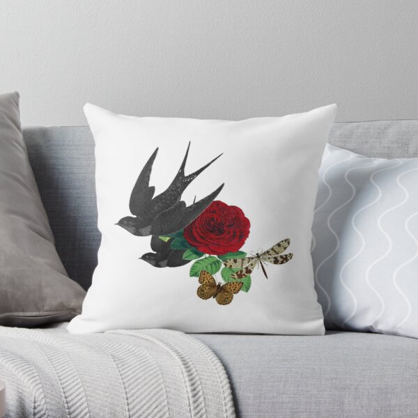 Vintage Swallows and Rose Throw Pillow