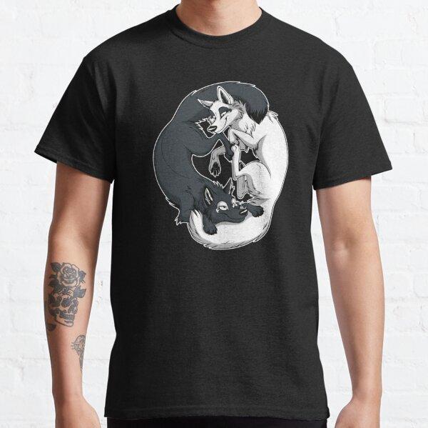 Yin & Yang Foxes (white border) Classic T-Shirt