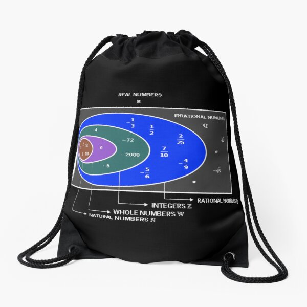 Numbers: Natural, Whole, Integers, Rational, Irrational, Real, Pure Imaginary, Complex Drawstring Bag