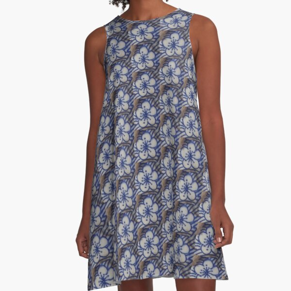 Blue Bloom A-Line Dress