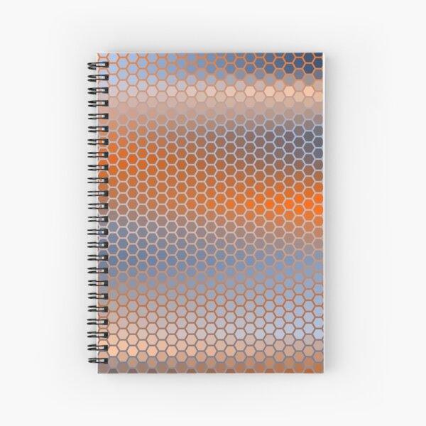 Blue Orange Brown Hexagon Pattern Spiral Notebook