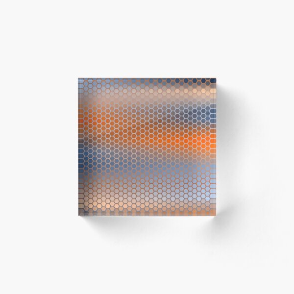 Blue Orange Brown Hexagon Pattern Acrylic Block
