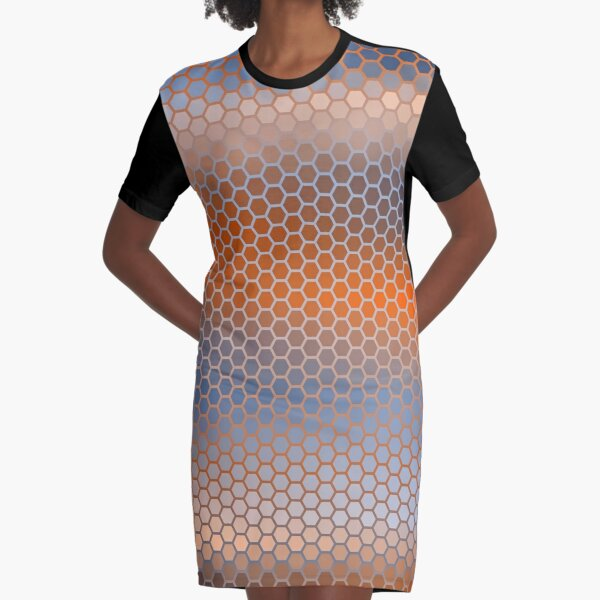 Blue Orange Brown Hexagon Pattern Graphic T-Shirt Dress