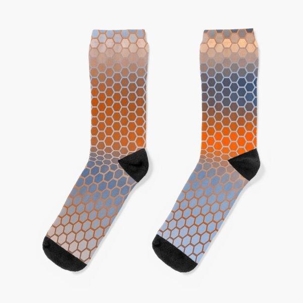 Blue Orange Brown Hexagon Pattern Socks