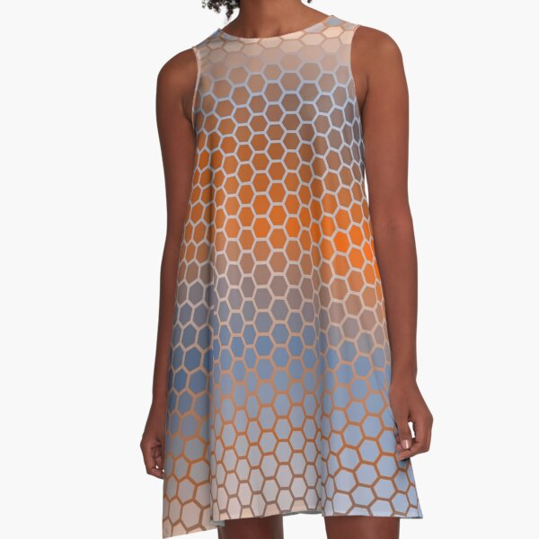 Blue Orange Brown Hexagon Pattern A-Line Dress