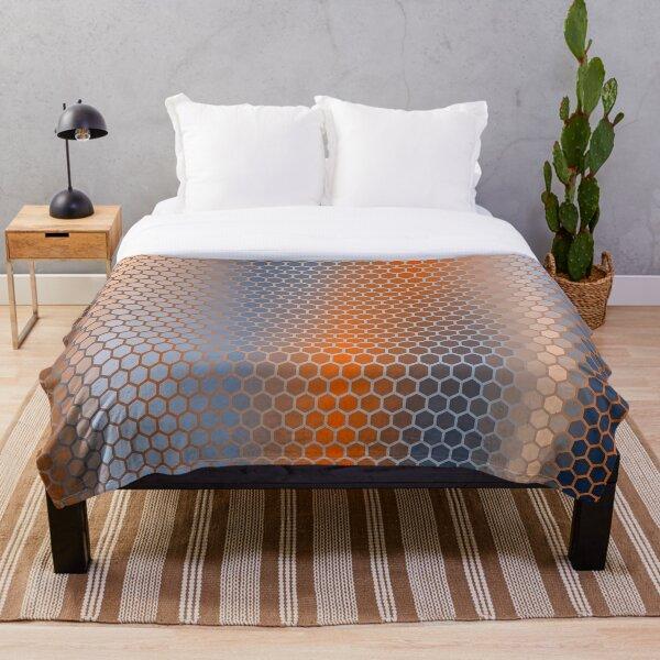 Blue Orange Brown Hexagon Pattern Throw Blanket