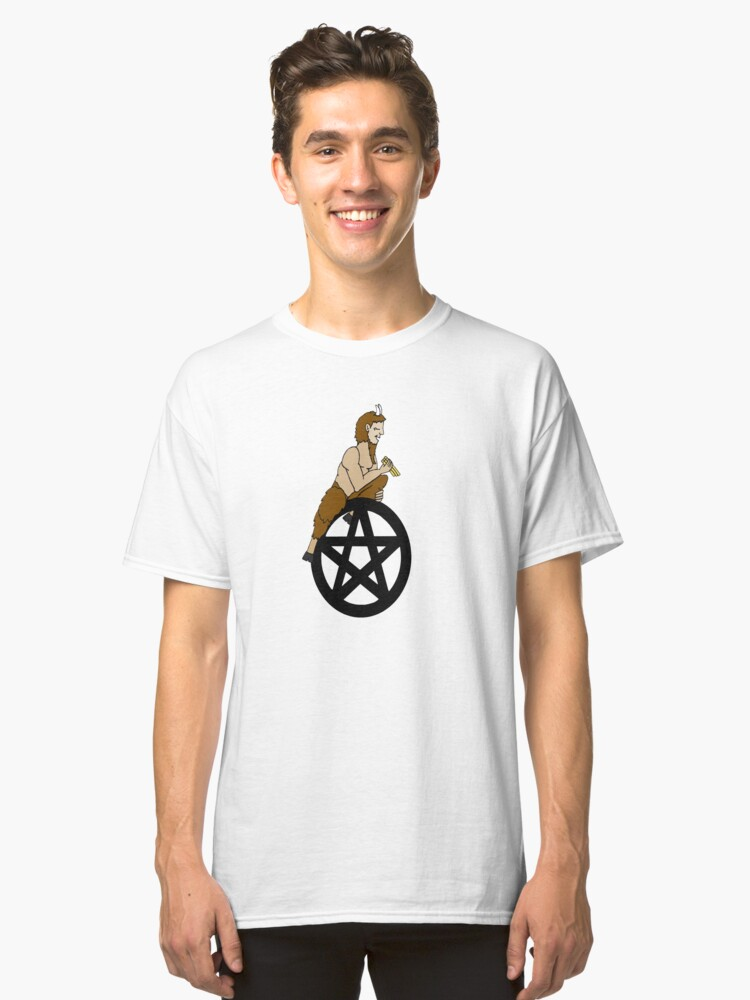 Pagan God Pan and Pentacle Classic T-Shirt Front