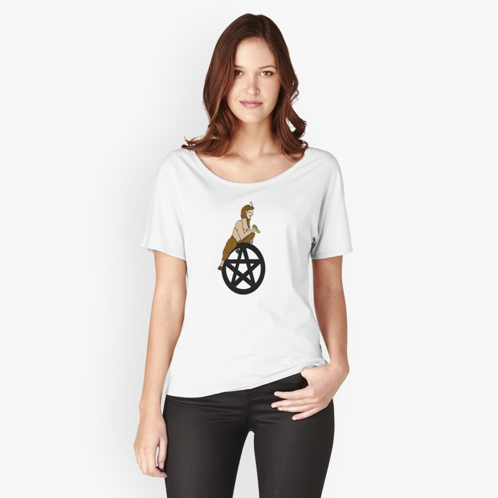 Pagan God Pan and Pentacle Women's Relaxed Fit T-Shirt Front