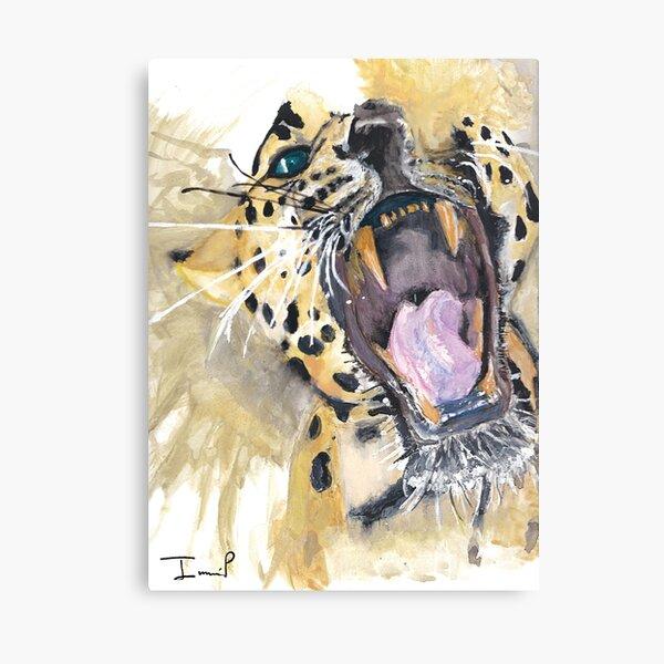 Roaring Leopard Painting Canvas Print