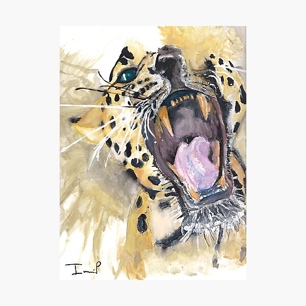 Roaring Leopard Painting Photographic Print