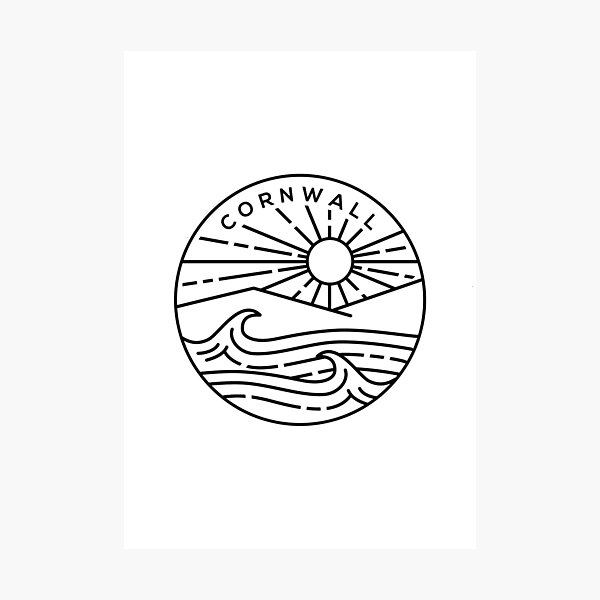Cornwall Beach, South England Emblem - White Photographic Print