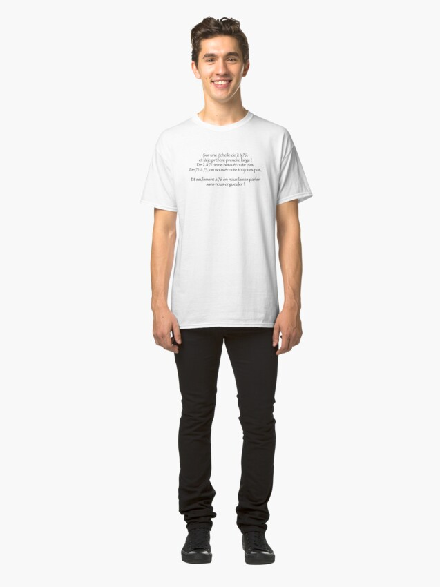 T-shirt classique ''Sur une échelle de 2 à 76': autre vue