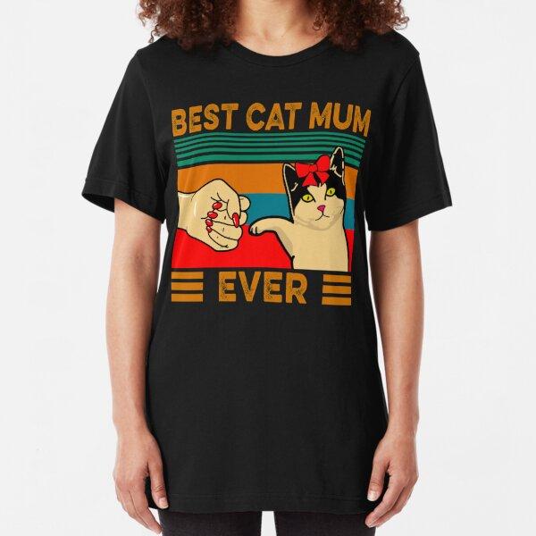 Vintage Best Cat Mum Ever Slim Fit T-Shirt