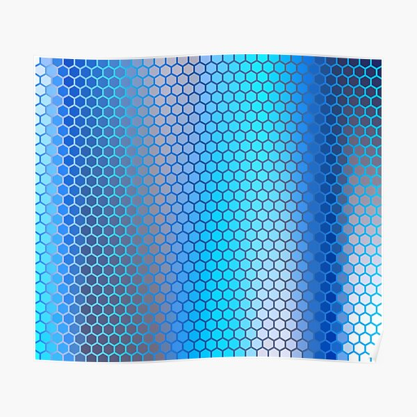 Blue Aqua Hexagon Pattern Poster