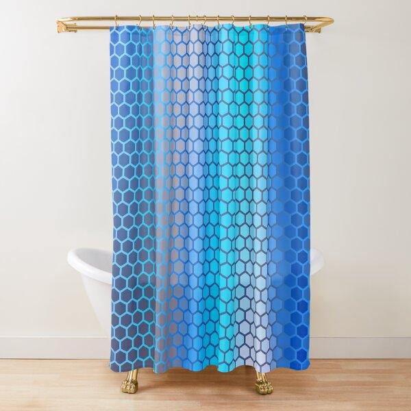 Blue Aqua Hexagon Pattern Shower Curtain