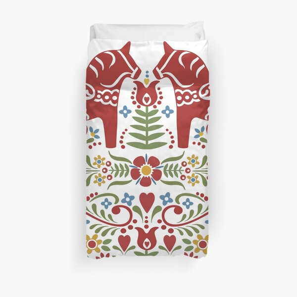 Scandinavian Dala Horse, Swedish Wedding Duvet Cover