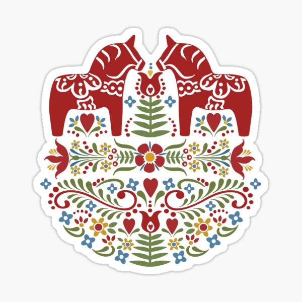 Scandinavian Dala Horse, Swedish Folk Art Sticker