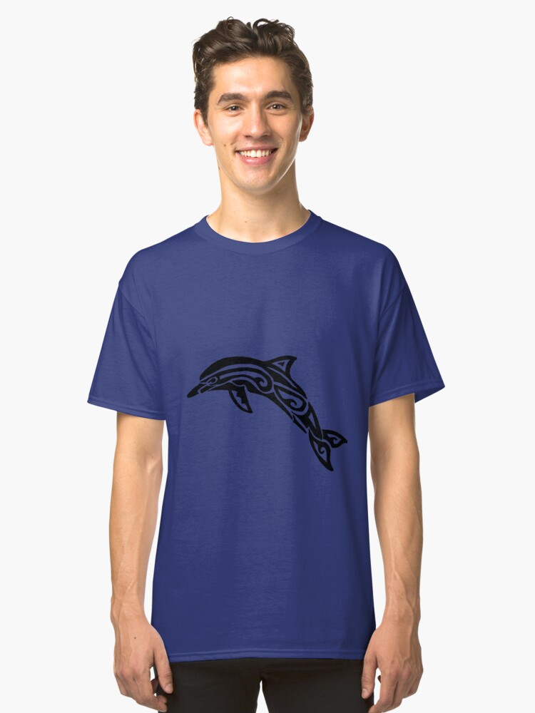 Dolphin Tribal Design  Classic T-Shirt Front