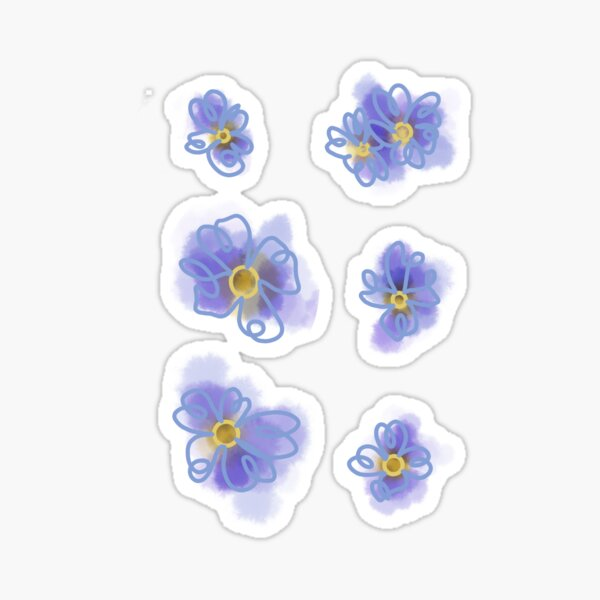 Water Color Forget Me Not Stickers Sticker
