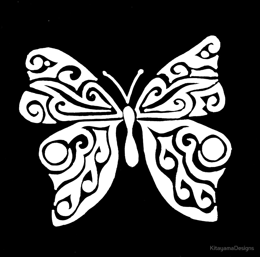 Butterfly Tribal Design - White by KitayamaDesigns