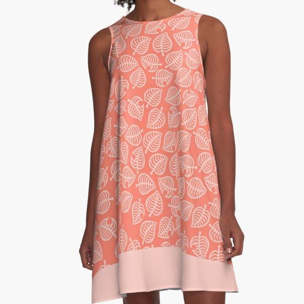 Isabelle Leaf Pink A-Line Dress