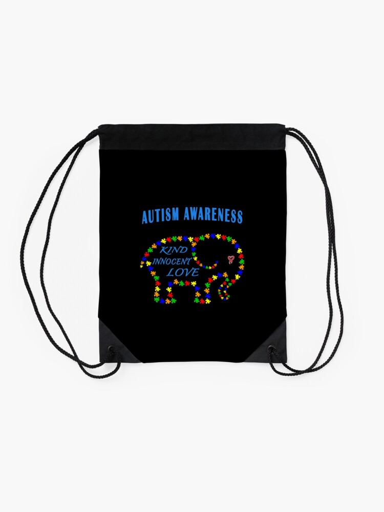 Alternate view of World Autism April Puzzle Heart Elephant Love Kids. Drawstring Bag