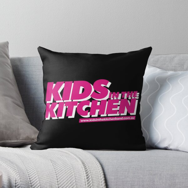 Kids in the Kitchen logo - pink Throw Pillow