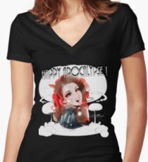 HAPPY APOCALYPSE 2 Women's Fitted V-Neck T-Shirt