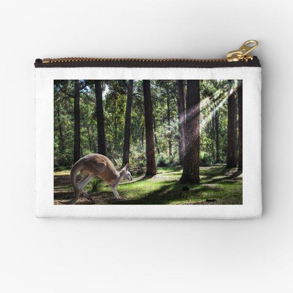 Kangaroo among the pine trees  Zipper Pouch