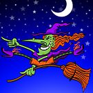 Crazy Witch Riding her Broomstick by Zoo-co