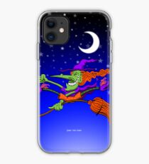 Crazy Witch Riding her Broomstick iPhone Case