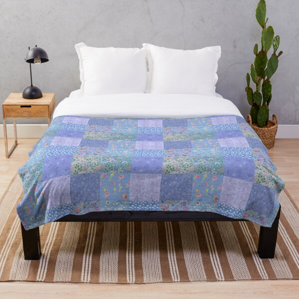 Something Blue Patchwork Quilt by Tea with Xanthe Throw Blanket