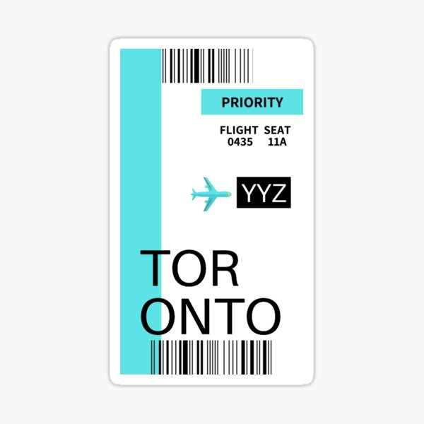 Toronto Boarding Pass Sticker