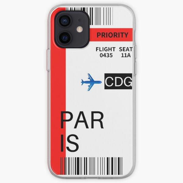 Tarjeta de embarque de París Funda blanda para iPhone
