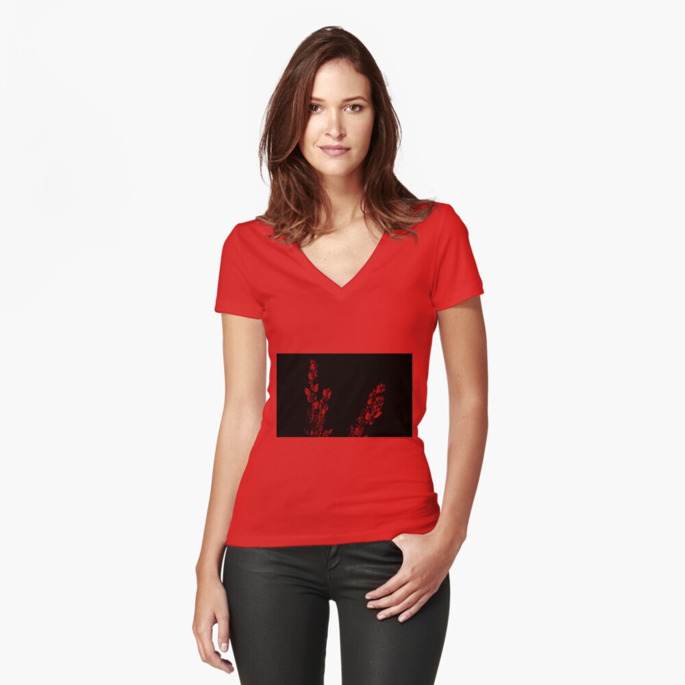 Red on Black Women's Fitted V-Neck T-Shirt Front