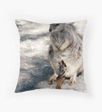 Peekaboo - Mareeba rock wallaby Throw Pillow