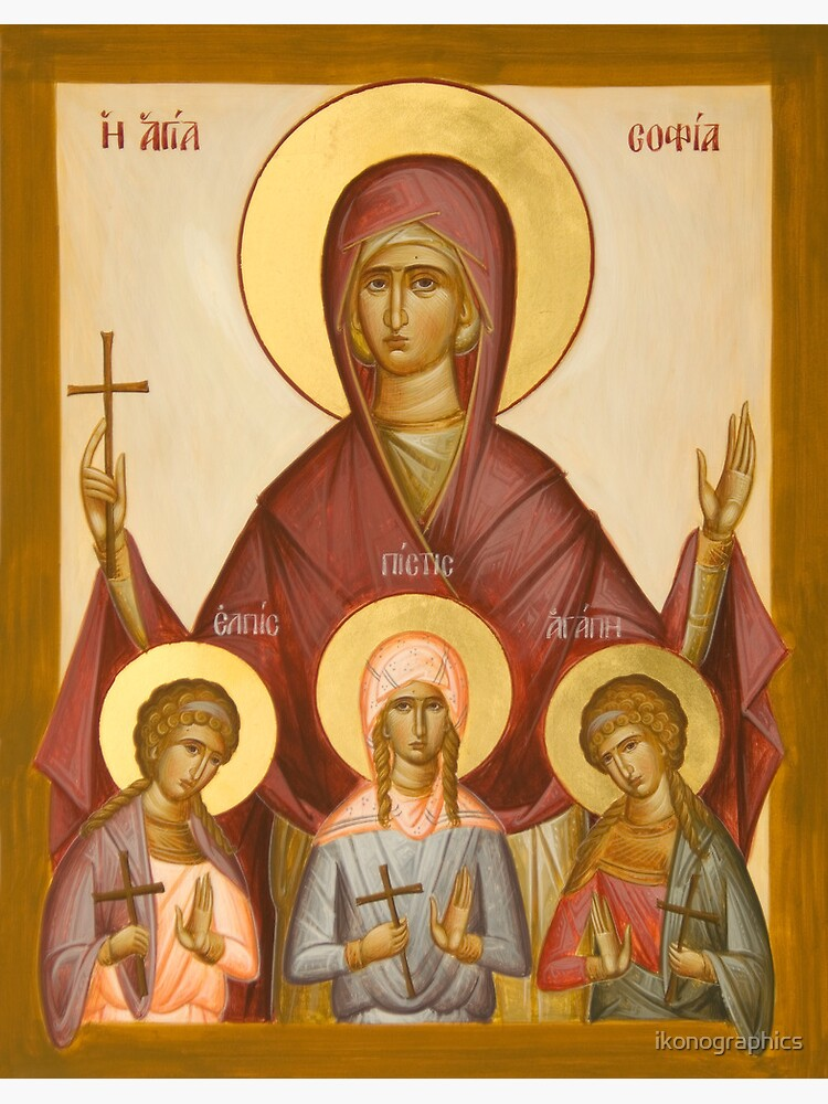 Sts Sophia, Faith, Hope and Love by ikonographics