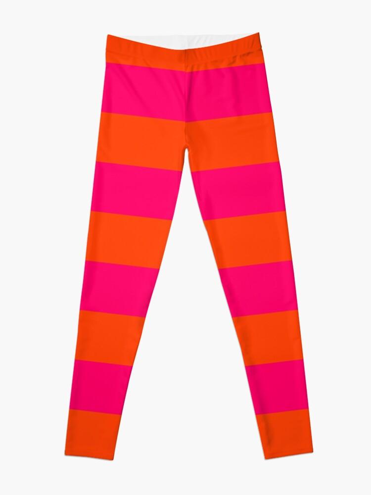 Alternate view of Bright Neon Pink and Orange Horizontal Cabana Tent Stripes Leggings