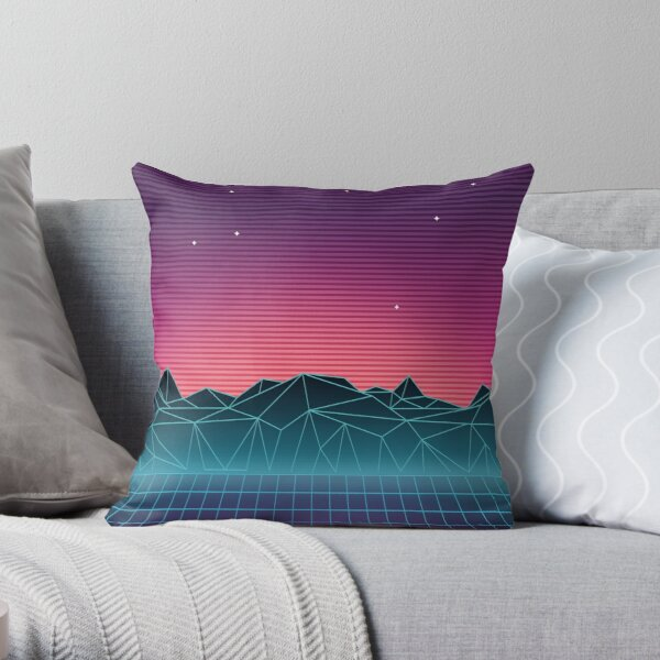 Vaporwave Landscape of the Future Throw Pillow