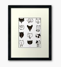 Set of cats heads Framed Print