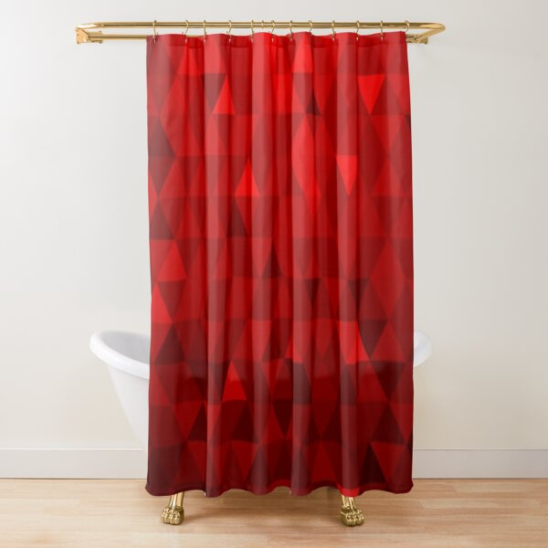 Red Background Triangles Shower Curtain