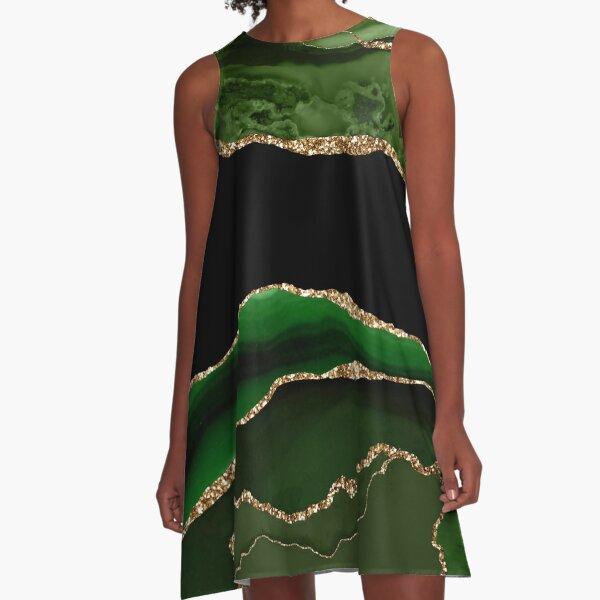Smaragdgrüner Malachit-Marmor A-Linien Kleid